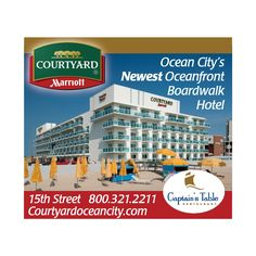 OCEAN CITY'S NEWEST OCEANFRONT BOARDWALK HOTEL. Perfect fit for social gatherings, corporate retreats or a relaxing long weekend getaway. Experience breathtaking sunsets, sunny afternoons and exciting nightlife  for all ages. Local shops to visit and restaurants to indulge in, and a brand new casino to have a little fun! There is also the hotels very own Captain's Table - an Ocean City favorite for over 50 years.  http://www.facebook.com/CourtyardOceanCityMD?ref=ts=ts
