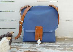 ottobags.. my favorite...  Light Blue Canvas Messenger bag  with Adjustable by ottobags, $69.00