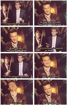 Richard Armitage - The Hobbit  ....  an interviewers failed attempt at singing, The Misty Mountains