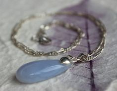 """1"""" Natural Blue Chalcedony Gemstone Teardrop Pendant with an 18"""" Sterling Silver Chain Necklace - XMAS -Great Christmas Gift! Free Gift Box!..."""