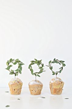 DIY Minimal mini wreath cupcake toppers - DIY home decor - Your DIY Family Make these beautiful Christmas cupcake toppers with fresh baby eucalyptus. This fresh eucalyptus wreath decoration looks elegant Scandinavian Christmas Decorations, Decoration Christmas, Noel Christmas, Christmas Crafts, Xmas, Handmade Christmas, Scandinavian Wedding, Scandinavian Baby, Christmas Icons