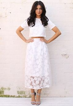 Daisy Overlay Boxy Crop Top Full Midi Skirt Co-ord in White White Skirt Outfits, White Skirts, Cute Outfits, Boxy Crop Top, Crop Tops, Matching Top And Skirt, Skirt Co Ord, Full Midi Skirt, Glamour