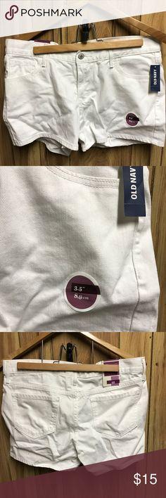 White denim shorts. Size 10. Old Navy White denim old navy shorts. Size 10 Old Navy Shorts Jean Shorts
