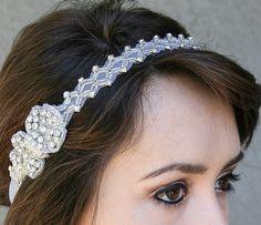 Rhinestone tie bridal headband, wedding hair, head piece. $65.00, via Etsy.
