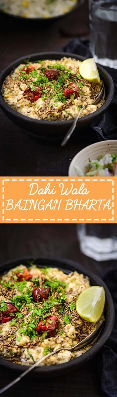 Dahi Wala Baingan Ka Bharta is a very simple, tasty, slightly spicy gravy that can be made as a great accompaniment to mutton biryani, plain white rice. Veg Recipes, Side Recipes, Lunch Recipes, Cooking Recipes, North Indian Recipes, Indian Food Recipes, Ethnic Recipes, Bharta Recipe