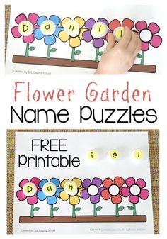Name Puzzle Flower Garden Name Puzzle Printable for preschoolers to learn to spell their names!Flower Garden Name Puzzle Printable for preschoolers to learn to spell their names! Preschool Names, Preschool Garden, Name Activities, Spring Activities, Preschool Activities, Preschool Flower Theme, Garden Kids, Preschool Projects, Counting Activities