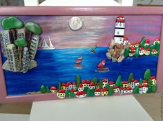 Купить картина из морской гальки Бухта моей мечты камни росписаны акриловыми - синий, бухта