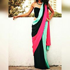 CC082- Multicolour  This is a Georgette saree combined in three colour. Three saree stiched together comes along with a stiched black blouse. To order WhatsApp @7685800306  #saree #sarees #sareeblouse #sari #saris #boutique #colourpop #multicolor #trendy #sexy #stylish #gown #lehenga #party #partywear #weddingdress #makeinindia #ethnicwear #designerwear #fashion #fashionblogger #indianfashion #shoe #hair #bags #chaitanyacouture #instagram #couture