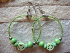 Hoop Earrings Green Apple Colour Happy Face by KidsAtHeartBeadShop