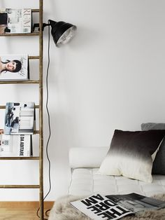 ladders and magazines | impromtu living room shelf #home