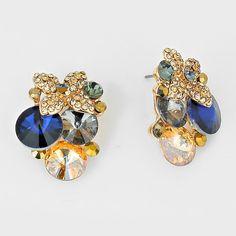 Women's  Floral Crystal Rhinestone Bubble Earrings