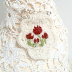 Embroidered brooch hand knitted - TULIPS by Laviniaslegacy on Etsy