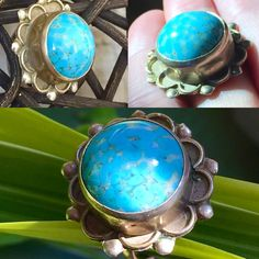 Vintage 1940's Sterling silver and turquoise adjustable ring... Flower child style... Think spring!