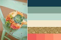 Navy, mint, aqua, gold, coral wedding color scheme
