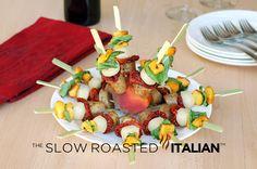 Grilled Peach Basil Caprese Sausage from theslowroasteditalian.com #recipe