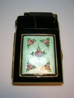 Vintage Marathon Guilloché Compact Cigarette Case Lighter Powder Blush