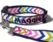 Items similar to Custom Embroidered Chevron 1 Inch Dog Collar Any Color on Etsy, a global handmade and vintage marketplace.
