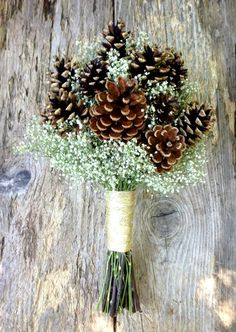 Winter Wedding Pine Cone and Dried Baby's Breath by SeasonalBounty