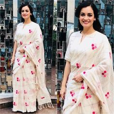 Buy this Dia Mirza Vintage White Colored Georgette Embroidered Celebrity Saree Online for upcoming festive seasons at affordable rates from daarce fashion - India's growing online shopping website for ladies. Bollywood Designer Sarees, Bollywood Saree, Bollywood Fashion, Saree Blouse Neck Designs, Blouse Patterns, Indian Dresses, Indian Outfits, Indian Clothes, Woman Clothing