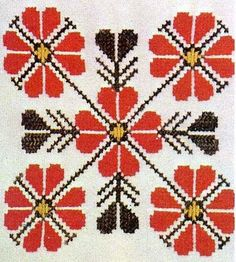 Design Decoration Craft: The Slavic use of Red Thread in Embroidery Russian Cross Stitch, Simple Cross Stitch, Cross Stitch Kits, Cross Stitch Designs, Cross Stitch Patterns, Embroidery Patterns Free, Diy Embroidery, Embroidery Stitches, Indian Embroidery