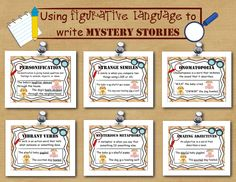 Mystery Writing: A Fictional Narrative Unit of Study Mystery Genre, Mystery Stories, Teaching Literature, Teaching Resources, Too Cool For School, School Stuff, Like Or As, Detective Theme, 3rd Grade Writing