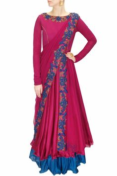 DRAPE 'N' DRAMA : Magenta and blue floral embroidered draped anarkali set by J…