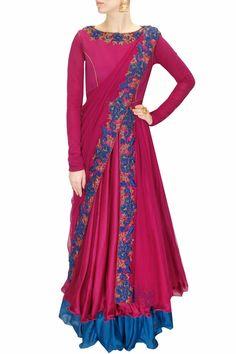 DRAPE 'N' DRAMA : Magenta and blue floral embroidered draped anarkali set by J by Jannat. Shop at www.perniaspopups.... #designer #jbyjannat #festive #couture #shopnow #perniaspopupshop #happyshopping