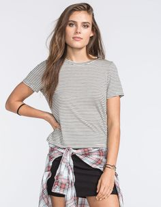 Not that skirt, maybe pair the striped tee and the flannel with some denim cutoff shorts or some distressed jeans.