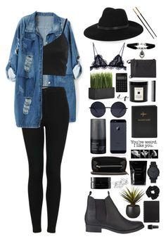Blusa azul gap, top negro encaje, pantalon negro, botas negras