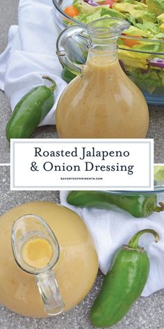 Roasted Jalapeno and Onion Dressing Recipe is a new way to jazz up your leafy gr. Roasted Jalapeno and Onion Dressing Recipe is a new way to jazz up your leafy greens or your favorite roasted or grilled vegetables. www. Onion Dressing Recipe, Salad Dressing Recipes, Salad Recipes, Salad Dressings, Pastas Recipes, Cooking Recipes, Sauces, Roasted Onions, Roasted Jalapeno Sauce