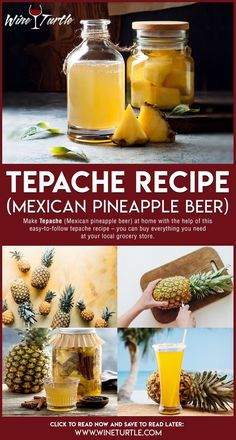 Tepache Recipe (Mexican Pineapple Beer) – Wine Turtle - My Shop Pineapple Beer, Pineapple Drinks, Pineapple Recipes, Brewing Recipes, Beer Recipes, Alcohol Recipes, Homemade Alcohol, Homemade Beer, Homemade Wine Recipes
