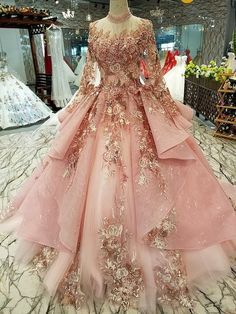 Dress Pendulum: Fishtail Material: mesh Popular elements: straps Style: Korean Waist type: Middle waist Style: U-shaped collar clothing Style details: Quince Dresses, Ball Dresses, Prom Dresses, Formal Dresses, Ball Gowns Prom, Elegant Dresses, Flower Dresses, Pink Quinceanera Dresses, Ball Gowns Evening