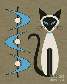 Set of Mid Century Modern Siamese Cats with Diamonds and Boomerangs Art Print by Donna Mibus - Set of Mid Century Modern Siamese Cats with Diamonds and Boomerangs Art Print by Donna Mibus - Mid Century Modern Decor, Mid Century Art, Mid Century Design, Retro Art, Mid-century Modern, Danish Modern, Vintage Design, Vintage Art, Canvas Wall Art