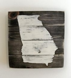 Georgia Map Wood Art | Express a rustic sort of state pride with this hand-distressed... | Artwork