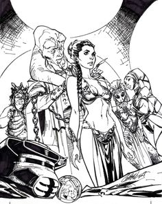 Scott Campbell Special thanks to Jeremiah Skipper for providing the pencils! Beauty and the Beast by Campbell - Inks J Scott Campbell, Star Wars Comics, Star Wars Art, Slave Leia Art, Science Fiction, Princesa Leia, Comic Kunst, Grimm Fairy Tales, Fantasy Images
