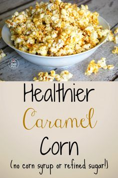 Healthier Caramel Corn (No corn syrup or refined sugars!) Healthier Caramel Corn (No corn syrup or refined sugars!) – Life Made Full Healthy Sweets, Healthy Snacks, Healthy Eating, Healthy Recipes, Healthy Habits, Free Recipes, Real Food Recipes, Snack Recipes, Cooking Recipes