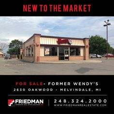New to the Market: 2,985 SF former Wendy's restaurant with drive-thru, turnkey opportunity in excellent condition, good visibility, signage and parking. For more visit: http://www.friedmanrealestate.com/listing/former-wendys-4/