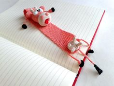 Bookmark Unusual funny  Cow Hand Knitted 100% by GorgeousDesign