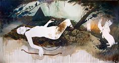 The Hunted - Martine Johanna -  Acrylics, graphite and indian ink on linen 450 x 210 cm