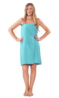 """Lightweight bridesmaids spa/bath waffle Velcro wrap (Turquoise). For women, for bridal parties, bridesmaids gifts. Waffle Cloth Body Wrap, Adjustable Velcro closure. 65% Cotton and 35% Polyester. Waffle inside and outside. Model is 5'9"""", 135lbs and wears One Size. Length 29"""", Sweep 57""""."""