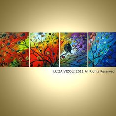 modern abstract landscape birds tree sunset seasons by LUIZAVIZOLI