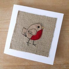 Applique Robin Christmas textile card rustic robin by MinXtures