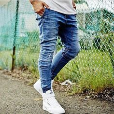 Blow Out Blue Slingshot Denimo Joggers by Zanerobe