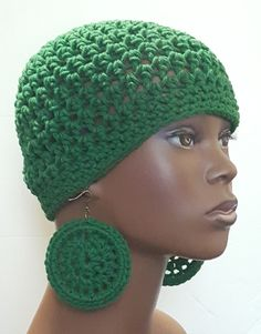 Hunter Green Cotton Crochet Beanie Skull Cap with Earrings by Razonda Lee Crochet Skull, Chunky Crochet, Cotton Crochet, Crochet Beanie, Crochet Hats, Wide Brimmed Hats, Brim Hat, Skull Cap Beanie, How To Wash Hats