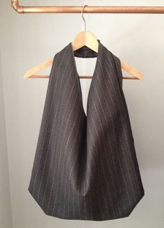ROCO grey pinstripe wool slouch bag by FabofABag on Etsy