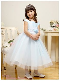 Blue Satin Bodice Double Layered Girl Dress