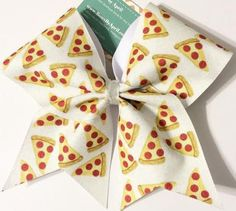 Bows by April - Full White Glitter Pizza Cheer Bow, $20.00 (http://www.bowsbyapril.com/full-white-glitter-pizza-cheer-bow/)
