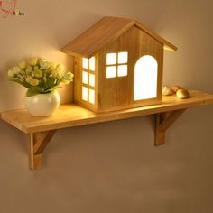 Nordic Creative House LED Solid Wood Wall Lamp Small Home Shelf Indoor Mounted Light for Bedside Bedroom Aisle Lights Children's. Diy Para A Casa, Diy Casa, Cheap Home Decor, Diy Home Decor, Room Decor, Wood Wall Shelf, Wooden Shelves, Wooden Lamp, Diy Home Crafts