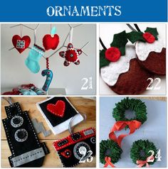 a ton of homemade Christmas ornaments--we need more ideas...the kids are loving making their own this year!