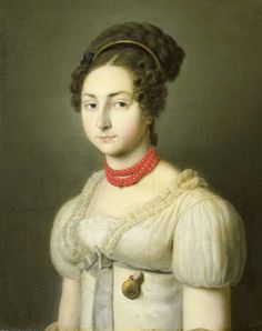 1820s coral necklace; specially popular in Regency and Romantic era (Nice detail of wearing watch).